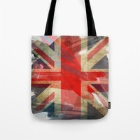 union jack Tote Bags featuring Union Jack by Honeydripp Designs