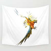 low poly Wall Tapestries featuring Low poly Parrot by exya