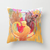 cities Throw Pillows featuring Building Cities by Manfish Inc.