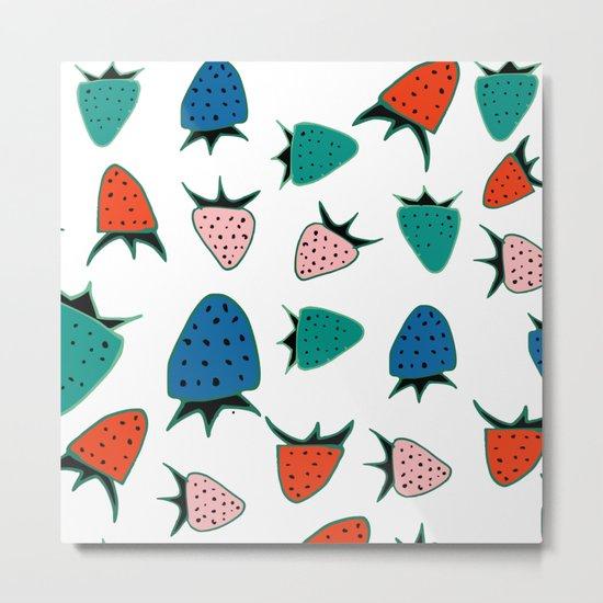 Strawberry white Metal Print