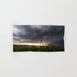 Stay Strong - Flowers Brace for Incoming Storm in Kansas Hand & Bath Towel