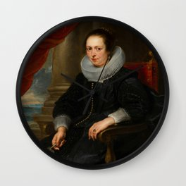 Portrait of a Woman - Peter Paul Rubens Wall Clock