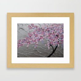 Cherry blossom, in pink and purple, with silver background - zen picture Framed Art Print