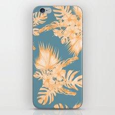Hawaiian Hibiscus Palm Orange Teal Blue iPhone Skin