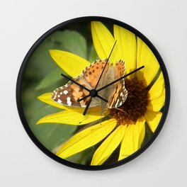 Painted Lady Butterfly Picks Pollen Wall Clock