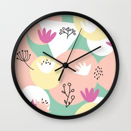 Pop of Color and Doodles Wall Clock