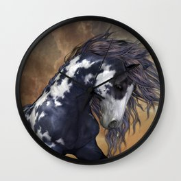 Storm, wild horse, fantasy Wall Clock