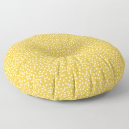 Mustard Yellow and White Polka Dot Pattern Floor Pillow
