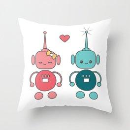 cute cartoon robots in love Throw Pillow