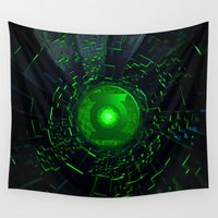 green lantern Wall Tapestries featuring GREEN LANTERN LOGO by BeautyArtGalery