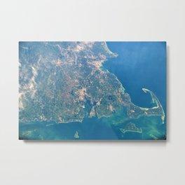 Satellite View Of New England, Rhode Island, Cape Cod, Martha's Vineyard & Narragansett Bay Metal Print