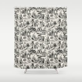 Alice in Wonderland | Toile de Jouy | Black and Beige Shower Curtain