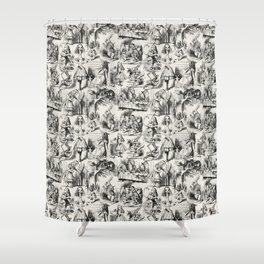 Alice in Wonderland   Toile de Jouy   Black and Beige Shower Curtain