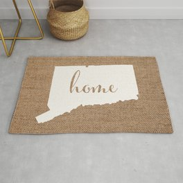Connecticut is Home - White on Burlap Rug