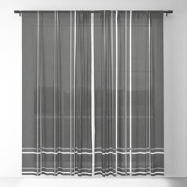 White & Gray Pinstripes on Scratched Black Grunge Illustration - Graphic Design Sheer Curtain
