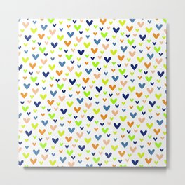 Happy Hearts on White Metal Print