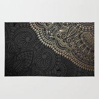 black and gold Area & Throw Rugs featuring black & gold by Pink Berry Patterns