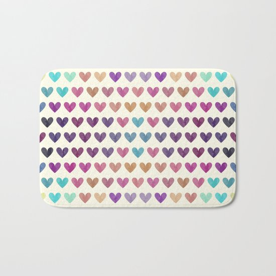 Colorful hearts III Bath Mat