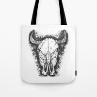 bull Tote Bags featuring BULL by Morgan Ralston