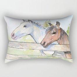 Horses Watercolor Sketch Barn Animals Horse Rectangular Pillow