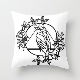 MINIMAL GEOMETRIC BIRD ROSES Throw Pillow