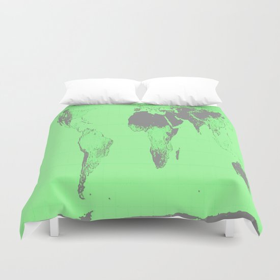 World Map : Gall Peters Seafoam Green Duvet Cover