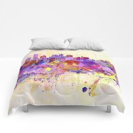 New York skyline in watercolor background Comforters