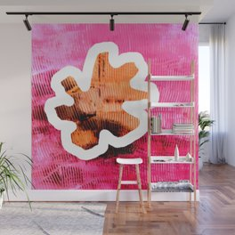 Leaf on pink Wall Mural