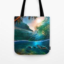 Palm Tree - Waves - Turtles - Beach - Ocean Tote Bag