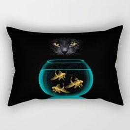 Black Cat Goldfish Rectangular Pillow