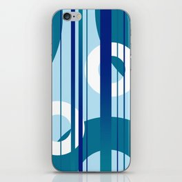 Stripes and Rings in white with blue iPhone Skin