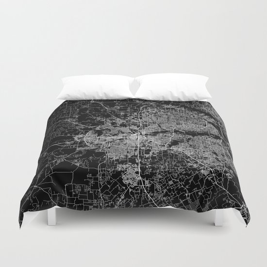 Fort Worth map Duvet Cover