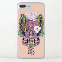 Our Lady of Guadalupe Skull Mask Clear iPhone Case