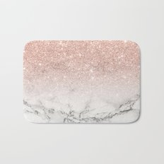 Modern faux rose pink glitter ombre white marble Bath Mat