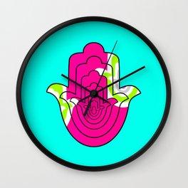 Blue Pop Art and Pink Hamsa Hand Wall Clock