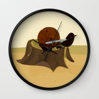 beaver Wall Clocks featuring Beaver by Studio Ria