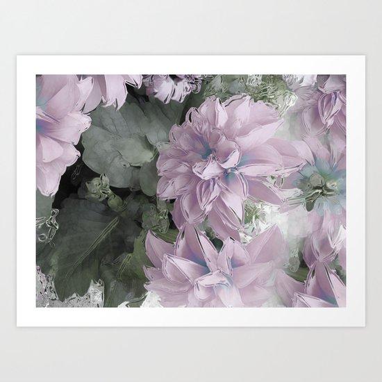 Pastel Dahlia's Art Print