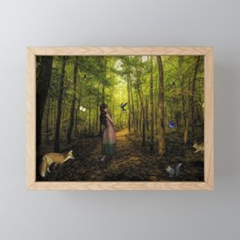 Emily and the Forest Animals Framed Mini Art Print
