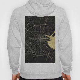Dublin Ireland Black on Gold Street Map Hoody