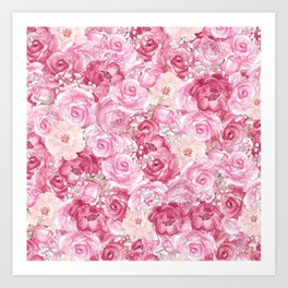 Hand painted white blush pink  coral floral Art Print
