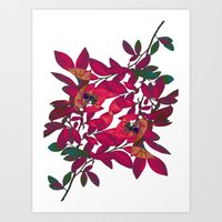Blueberry branch - Pink Art Print