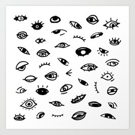 Bad Eyes (White) Art Print