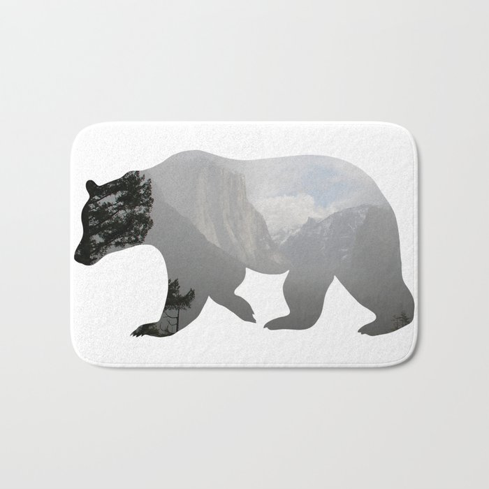 Grizzly Bear with Yosemite Photo Inlay Bath Mat