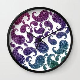 Jewel toned paisleys Wall Clock