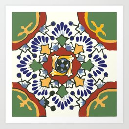 Talavera Mexican tile inspired bold design in blue, green, red, orange Kunstdrucke