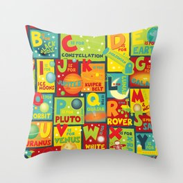 Space Alphabet Throw Pillow
