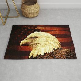 Rustic Bald Eagle Bird on American Flag Heartland Americana Art A457 Rug