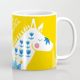 Folk horse on yellow Coffee Mug
