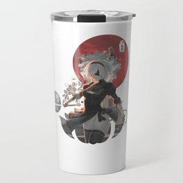 Red circle 2B Nier: Automata Travel Mug