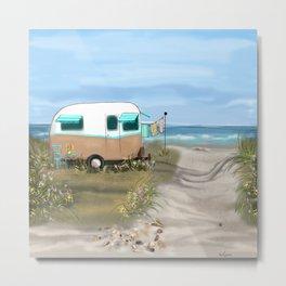 Beach Glamping Camping Metal Print